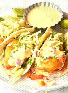#savorybitesrecipes #fishtacosrecipe #bajafis... Fish Tacos With Cabbage, Cabbage Slaw, Camembert Cheese, Food, Meals