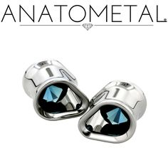 """7/16"""" Single Stone Teardrop Eyelets in ASTM F-138 stainless steel; synthetic Blue Zircon gemstones"""