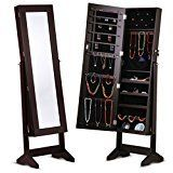 #6: LANGRIA Lockable Jewelry Cabinet Jewelry Armoire with Mirror Jewelry Holder Organizer Storage 4 Angle Adjustable Brown