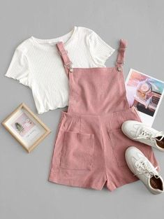 Zaful / Pockets Corduroy Pinafore Romper with Top Girls Fashion Clothes, Teen Fashion Outfits, Outfits For Teens, Trendy Fashion, Korean Fashion, Fashion Style For Teens, Cute Teen Clothes, Club Outfits, Emo Fashion