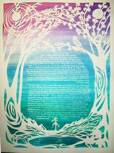 Items similar to Phoenix and Owl Ketubah - papercut handcut artwork - calligraphy - Hebrew - wedding - ketuba on Etsy Tree Of Life Artwork, Leo Constellation, Papercutting, Willow Tree, Small Trees, Making Memories, Kirigami, Dream Job, Constellations