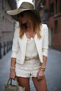 All in white! Love it. White blazer + lace shorts  hat!