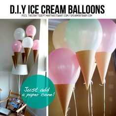 DIY Ice Cream Cone Balloon. http://t.trusper.com/DIY-Ice-Cream-Cone-Balloon/671664