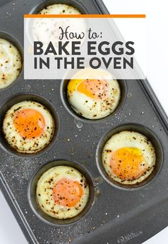 How to Bake Eggs in the Oven. Baked eggs are the perfect healthy breakfast or snack. So easy and little clean-up! Egg Recipes, Brunch Recipes, Cooking Recipes, Healthy Recipes, Cooking Hacks, Healthy Food, Cooking Oil, Dinner Recipes, Pancake Recipes