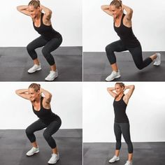 Moderate Intensity Minute: 1, 2, 3 Squat and Rear Lunge - Lose Fat Fast: HIIT Bodyweight Workout - Shape Magazine - Page 2 #fitness #fit #motivation #inspiration #fitspiration