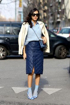 Shades of blue and a pair of socks made this a look to love. #Streetstyle #MFW Fall 2014