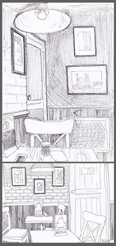 Sketch of interior cafe. Time for coffee! You can see more sketches and pictures  here: https://www.flickr.com/photos/99067832@N07/albums or in my shop: https://www.etsy.com/shop/NoakMarinaFineArt?ref=l2-shopheader-name