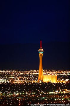 Las Vegas Strip at night, Stratosphere hotel.