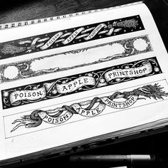 """Poison Apple Printshop on Instagram: """"Shop banners from a number of years ago. I'm thinking it's about time I make some new ones. 🍎 #poisonappleprintshop #sketchbook #banner"""" Poison Apples, Comic Styles, Doodle Art, Original Artwork, Things To Think About, Numbers, Doodles, Instagram Shop, How To Make"""