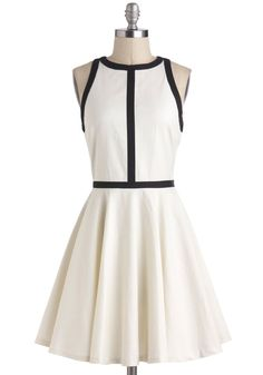 Minimalist is More Dress by BB Dakota - White, Black, Trim, Work, Casual, Sleeveless, Fit & Flare, Minimal, 60s, Mod