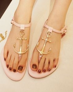 Morpheus Boutique - Pink Mental Strap Flat Lady Sandals Shoes I need these so bad High Heels Boots, Shoe Boots, Pink Sandals, Shoes Sandals, Flat Sandals, Strap Sandals, Anchor Sandals, Anchor Shoes, Fashion Shoes