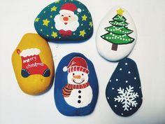 圣诞树 原创彩绘手绘石头创意礼物压书石情人节礼物-淘宝网