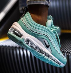 Nike Air Max 97 SE GS tropical Twist Teal Tint BlackYou can find Nike air max and more on our website. Best Sneakers, Sneakers Fashion, Fashion Shoes, Sneakers Nike, Black Sneakers, Running Sneakers, Running Shoes, Tennis Sneakers, Fashion Outfits
