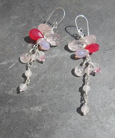 Sterling Silver Wire Wrapped Earrings of Rose by HipChickJewelry, $44.00