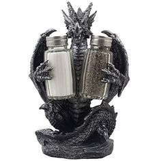 Mythical Dragon Salt and Pepper Shaker Set with Holder Figurine for Medieval & Fantasy Bar or Kitchen Table Decor Sculptures and Gothic Gifts by Home-n-Gifts - Cool Kitchen Gifts