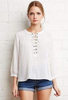Lace-Up Peasant Top | Forever 21 | #triedandtrue