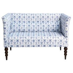 "Check out this item at One Kings Lane! Whitney 52"" Settee, Azure Shibori"