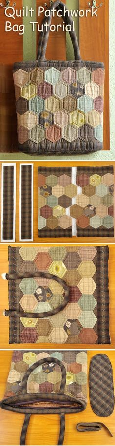 How to make zippered bag. Daily Quilt Bag Pattern - Japanese Craft, Easy Quilting Tutorial. http://www.handmadiya.com/2015/09/hexagon-quilt-patchwork-bag.html