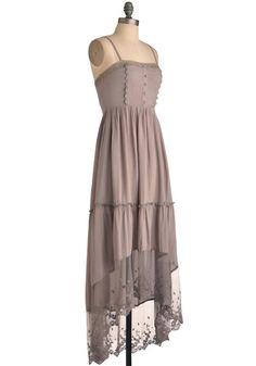 Oregon Trailing Dress - Long, Solid, Bows, Buttons, Lace, Trim, Maxi, Spaghetti Straps, Tan, Casual, Boho, Summer