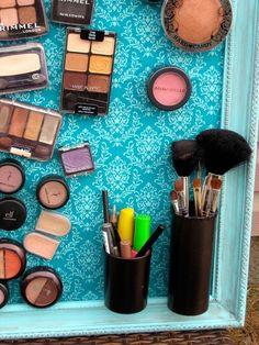 DIY Makeup Organization Ideas, Makeup Storage, A magnetic makeup board!