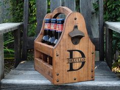 beer tote, father day, groomsman gifts, wood beer, christmas birthday