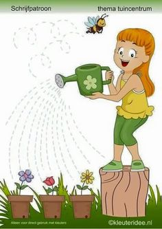 to water the flowers pre writing Preschool Writing, Preschool Worksheets, Preschool Activities, Animal Coloring Pages, Coloring Pages For Kids, Maternelle Grande Section, Pre Writing, Spring Activities, Home Learning