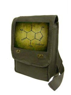 vintage style caffeine molecule khaki green by CraftieRobot, $23.00