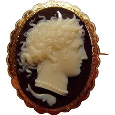 Beautiful Antique Carved Hardstone Agate Mythological Cameo Brooch from Camelot Cameos and Antiques at RubyLane.com