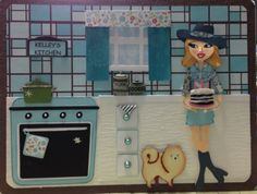 Birthday card made using cricut cartridges: From my Kitchen, Paper Dolls Teen Scene, Country Life & Pet Shop