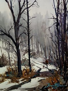 Alone with Max by Brienne M. Brown, Watercolor, 12 x 9 Landscape Sketch, Watercolor Landscape, Landscape Art, Landscape Paintings, Watercolor Paintings, Landscapes, Snow Scenes, Seascape Paintings, Nature Wallpaper
