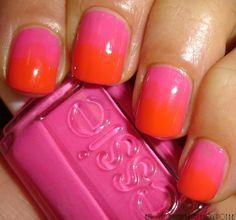 Orange & Pink Ombre Nails