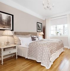 Beige bedroom, love the wall colour.