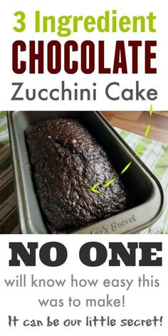 Classic, old fashioned chocolate zucchini cake recipe using only 3 ingredients! This turns out so well every time! Classic, old fashioned chocolate zucchini cake recipe using only 3 ingredients! This turns out so well every time! Chocolate Zucchini Bread, Zucchini Bread Recipes, Zucchini Desserts, Zucchini Loaf, Recipe Zucchini, Banana Recipes, Healthy Zucchini Bread, Courgette Cake Recipe, Zucchini Bread Muffins