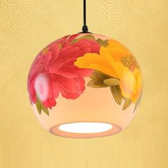 Chinese red & yellow peony flower ceramic hallway corridor pendant light
