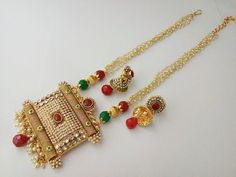 new indian bollywood jewelry necklace set ethnic gold plated traditional set 54 Fashion Jewelry Necklaces, Jewelry Sets, Women Jewelry, Gold Jewellery, Jewelry Making, Bollywood Jewelry, Necklace Designs, Necklace Set, Gold Necklace