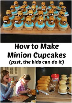give each minion a different facial expression. Place Twinkie cut side down on top of iced cupcake. Add chocolate