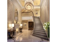 classic hall and staircase House On A Hill, House Interiors, Foyer, Stairs, Wishful Thinking, Staircases, Google Search, Classic, Home Decor