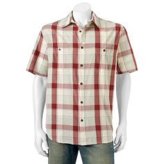 Men's Woolrich Tall Pine Classic-Fit Plaid Ripstop Button-Down Shirt, Dark Red
