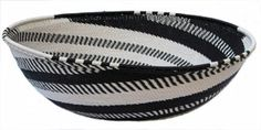 """#Black-and-White #Recycled Telephone Wire #Basket handcrafted by Zulu Weavers. Limited Edition. #SALE $125.  10"""" x 2.5"""" h"""