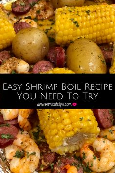 Easy Shrimp Boil Recipe You Need To Try - MimiCuteLips This is the easiest shrimp boil ever, short on time but big on deliciousness. Toss it in the oven on a sheet pan and enjoy the magic in your mouth. Easy Shrimp Boil Recipe You Need To Try - Mim Easy Shrimp Boil Recipe, Cajun Shrimp Recipes, Seafood Boil Recipes, Seafood Dishes, Boiling Crab Shrimp Recipe, Cajun Seafood Boil, Seafood Boil Party, Shrimp Boil Foil, Meat Recipes