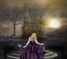 Beautiful purple dress, a mask and a Ball in a castle. Sweet Dreams.