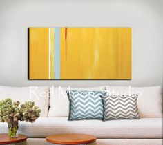 Abstract Painting, Abstract Art, Yellow Art, Yellow Abstract - Large 48x24, Light Blue Stripe, Shipping Included, Original Abstract Art. $279.00, via Etsy.