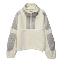 GmbH PULLOVER WITH ZIPPER AND STRING CREAM ($535) ❤ liked on Polyvore featuring tops, sweaters, pullover top, cream pullover, zip sweater, pullover zip sweater and zipper top