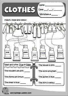 clothes - worksheet http://eslchallenge.weebly.com/hello-kids-1.html