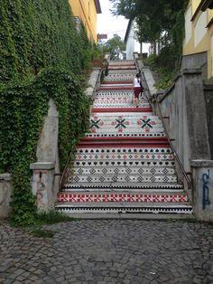 The Rakoczi stairs in Tirgu Mures, Romania