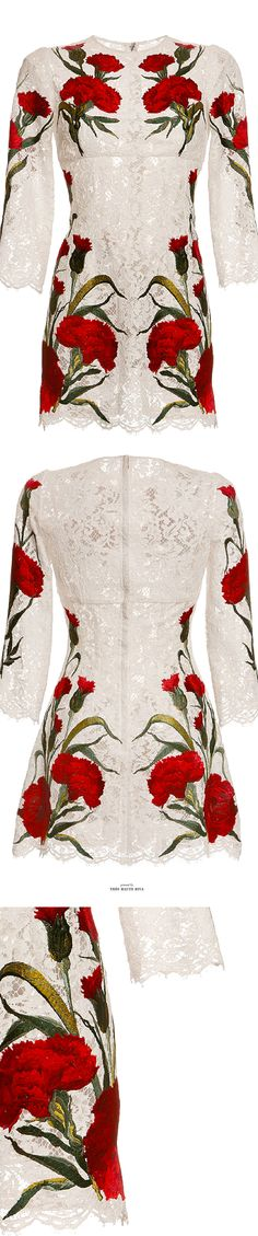 Dolce & Gabbana White Lace Dress With Embroidered Carnations SS 2015 jaglady Spring Fashion, High Fashion, Womens Fashion, Fashion Prints, Fashion Design, Designer Gowns, India, Stylish Dresses, Couture Fashion
