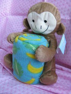 "New 14"" Monkey Stuffed Toy & Soft Fleece Throw-Blanket Buddy Set | Collectibles, Animals, Wild Animals | eBay!"