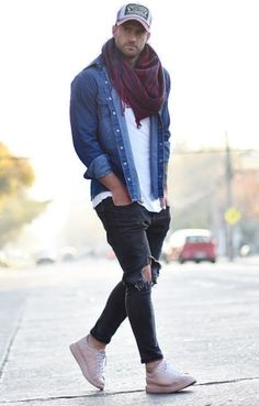 How to wear: blue denim shirt, white crew-neck t-shirt, Stylish Men, Men Casual, Winter Outfits, Casual Outfits, Moda Formal, Blue Denim Shirt, Mens Fashion Suits, Fashion Clothes For Men, Man Clothes Style