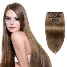 #8 Light Brown Color 10pcs Straight Clip In Remy Hair Extensions WIGN003