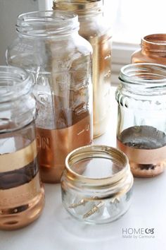 Gold & Copper dipped jars